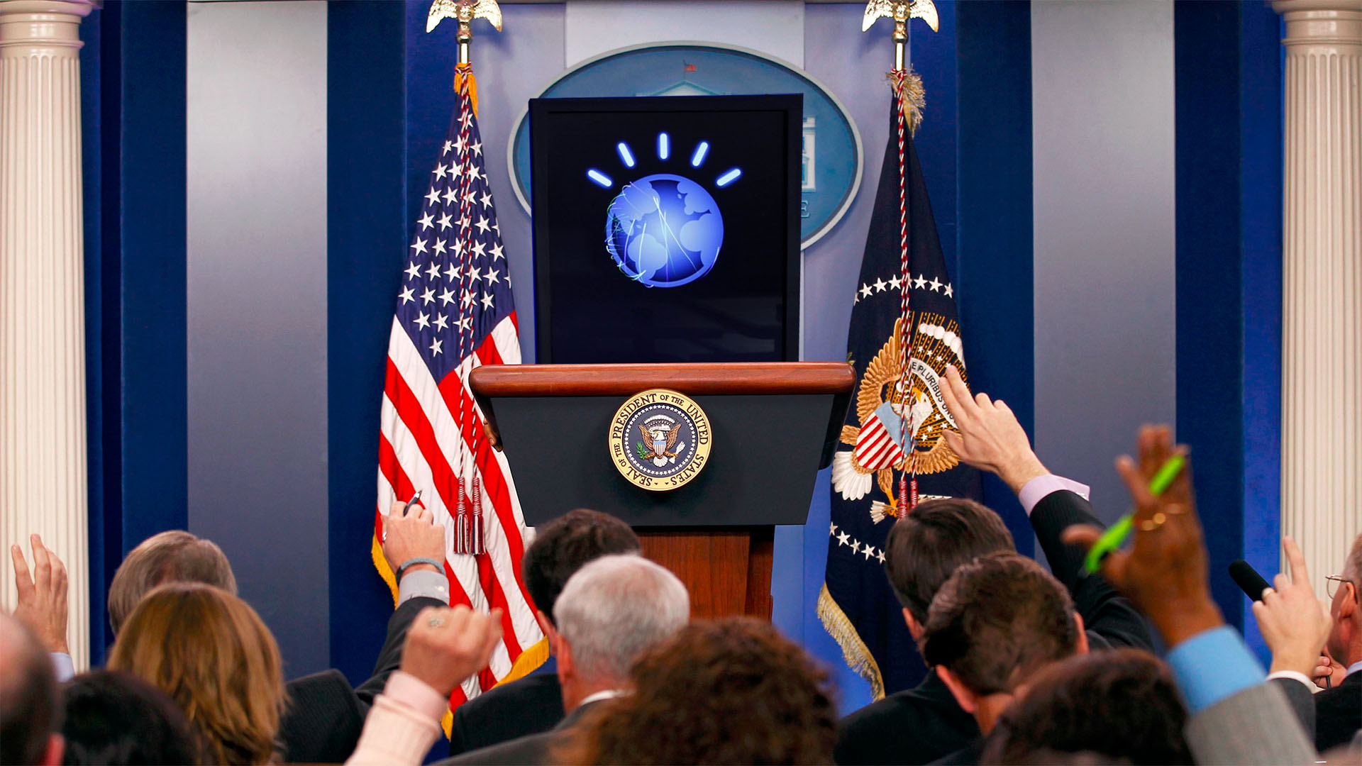 Watson gives a press conference in the White House